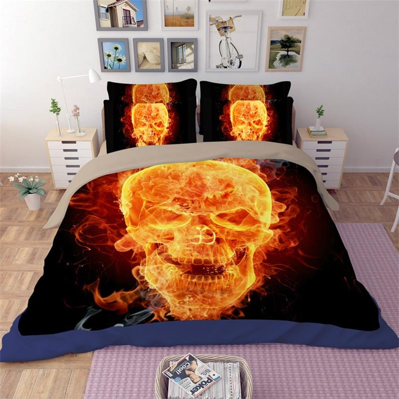 Personalized Punk Gothic Flame Skeleton Skull Bedding Set Twin Queen King Size Duvet Cover Bed
