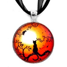 Black Cat and Crow on Halloween Pendant Necklace 2018 Art Long Necklaces Jewelry for WomenYP2475