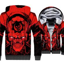 Black Red Skulls Coat Hipter Anime Hoodies Harajuku Winter Thick Jacket Streetwear Zipper Tracksuit Cosplay 2018 New