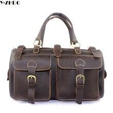 Crazy horse hombres del cuero genuino de bolsa de viaje bolso grande de lona de la vendimia bolsa de mensajero de los hombres de hombro bolsa de Asas del Bolso del equipaje