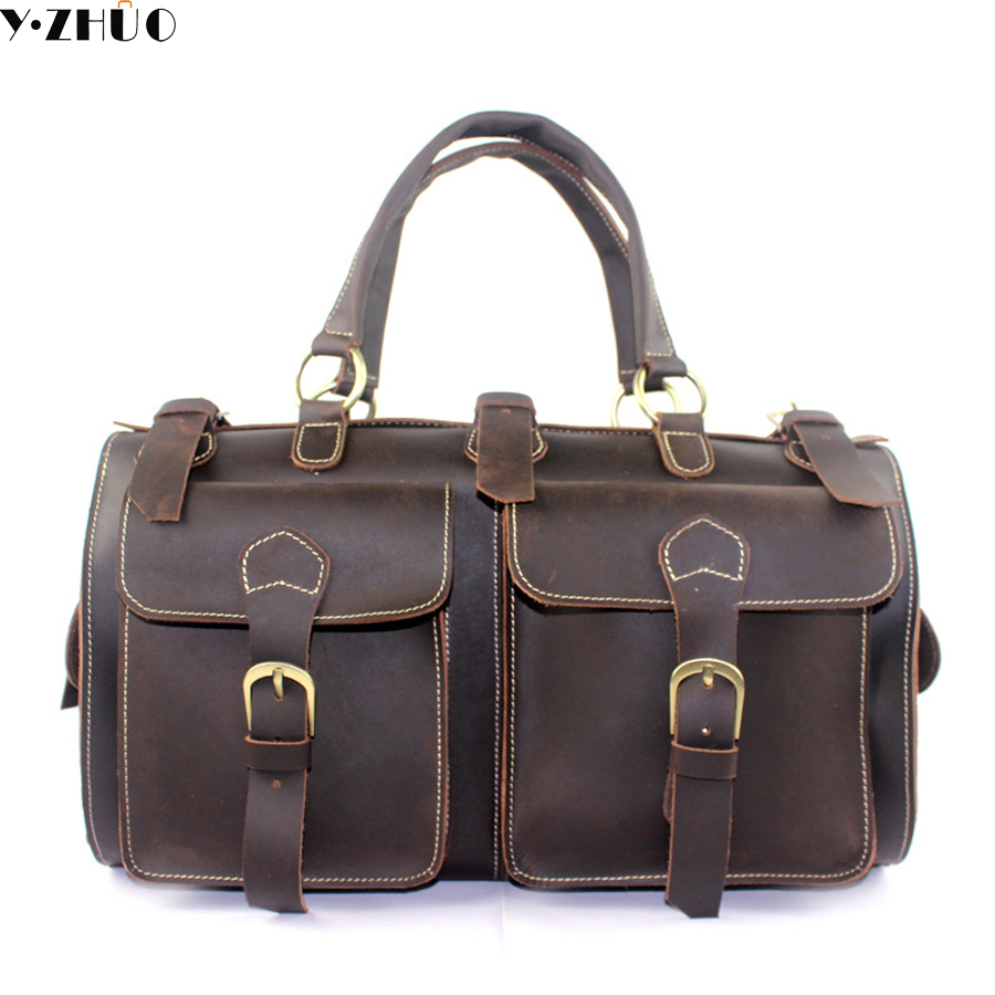 crazy horse genuine leather men travel bag large handbag vintage duffel bag men messenger shoulder bag Tote luggage Bag 7077r crazy horse leather unisex dark brown huge luggage bag tote bag travel bag