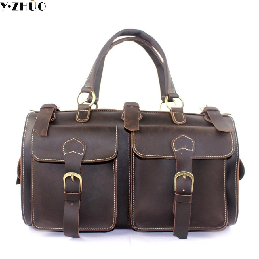 crazy horse genuine leather men travel bag large handbag vintage duffel bag men messenger shoulder bag Tote luggage Bag