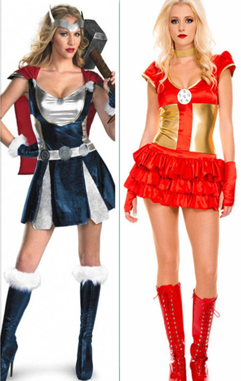Free Shipping,Avengers Movie Adult Women Sexy Thor Iron Man Avenger Costume Dress -6296