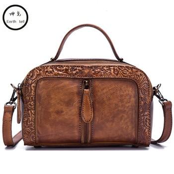 Women Genuine Leather Tote Handbag Vintage Embossed Crossbody Shoulder Bag High Quality Casual Female Rub Color Messenger Bags