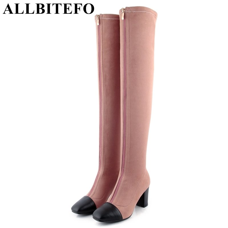 ALLBITEFO Nubuck leather square toe thick heel women boots fashion high heels mixed colors over the knee boots winter boots 2018 fashion genuine leather metal buckle mixed colors thick heels superstar winter boots round toe women mid calf boots l99