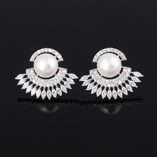 Latest Design Women S Fun Shape Marquise Cut Aaa Cubic Zirconia Fake Pearl Stud Earring With Crystal