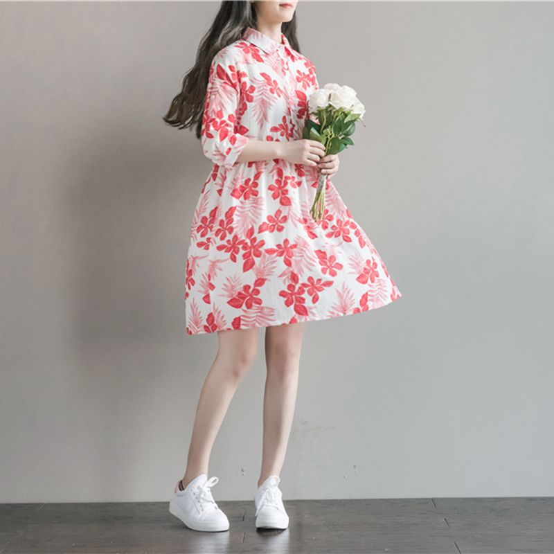 2018 Maternity Dresses Print Maternity Clothes for Pregnant Women Summer Autumn Maternity Clothing Formal Cotton Pregnancy Dress