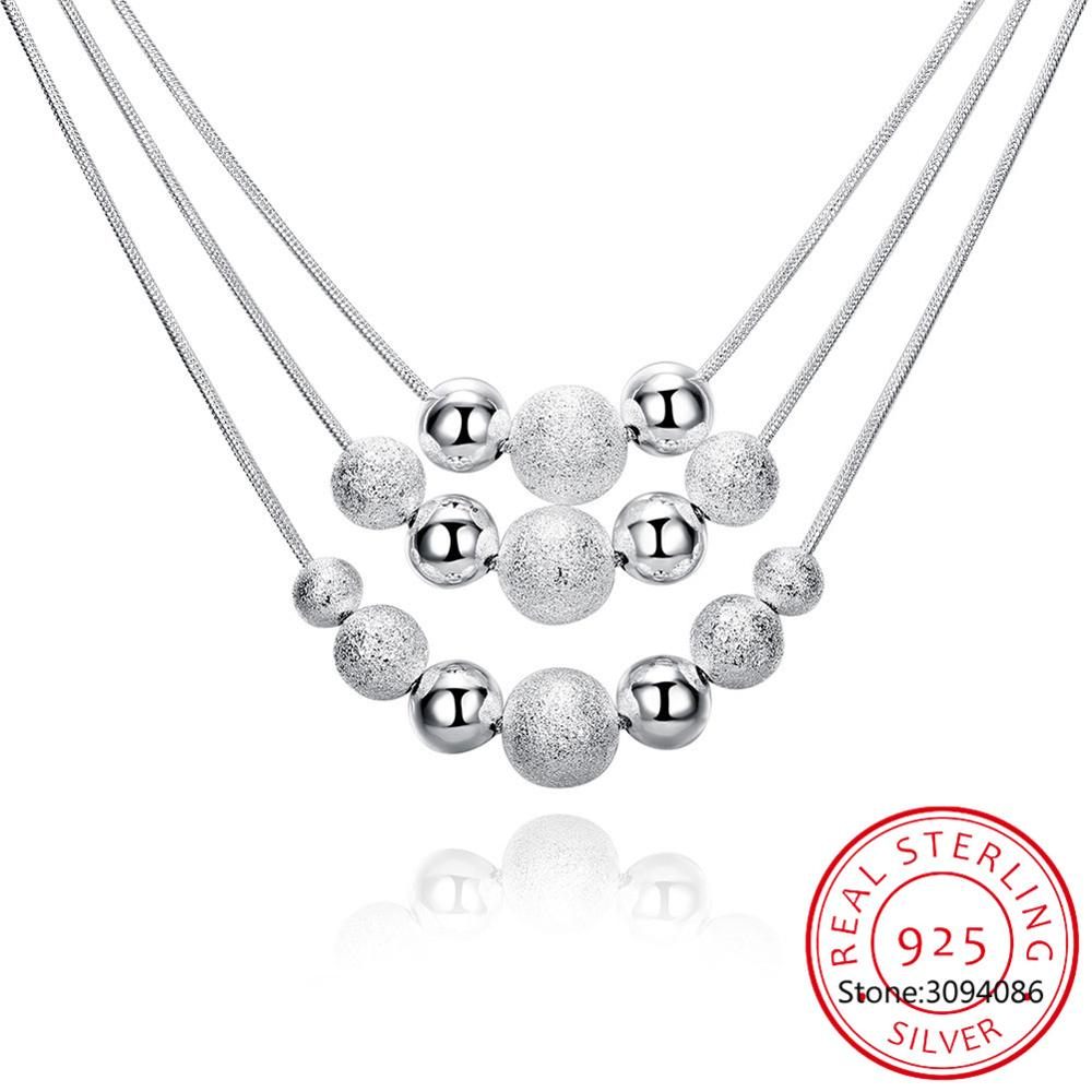 New Charm 925 Sterling Silver Jewelry Classic High-quality Fashion Three Layer Chain Light Sand Beads Necklace Collares