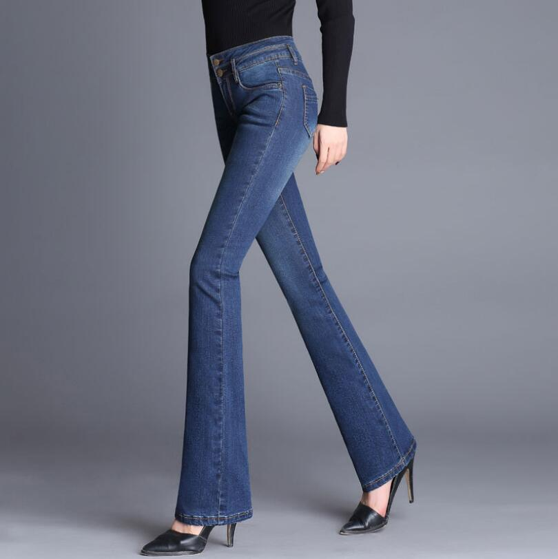 2018 new Autumn High Waist Flare Jeans Pants Stretch Slim Jeans Women Denim Boot Cuts Pl ...