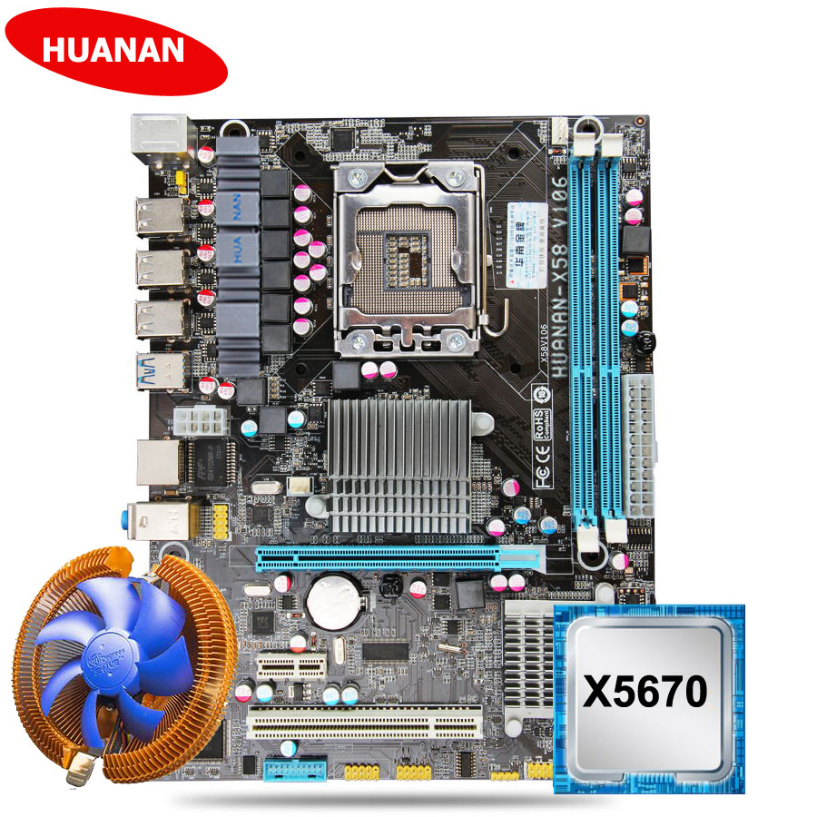 New HUANAN X58 motherboard CPU kit with CPU cooler USB3.0 X58 LGA1366 motherboard CPU Xeon <font><b>X5670</b></font> 2.93GHz 6 core 12 thread image