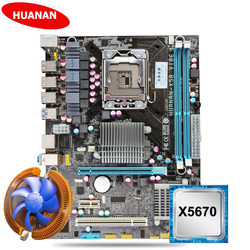 Nieuwe HUANAN X58 moederbord CPU kit met CPU koeler USB3.0 X58 LGA1366 moederbord CPU Xeon X5670 2.93GHz 6 core 12 draad
