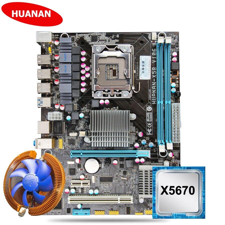 Nuovo HUANAN X58 scheda madre CPU kit con CPU cooler USB3.0 X58 LGA1366 scheda madre CPU Xeon X5670 2.93 GHz 6 core 12 filo