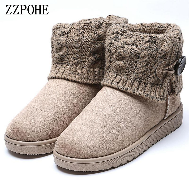ZZPOHE 2017 Winter Women Snow Boots Woman Warm Flat Platform Ankle Boots Female Non-slip Comfortable cotton shoes free shipping winter women snow boots fashion footwear 2017 solid color female ankle boots for women shoes warm comfortable boots