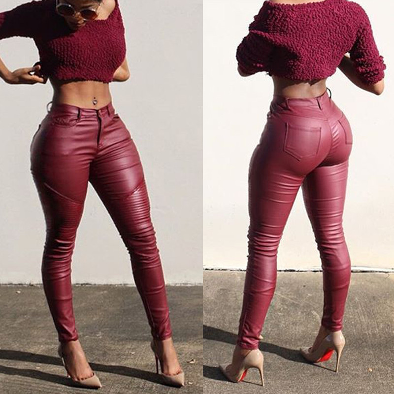 Women Faux Leather Pants Ladies Sexy Skinny Solid Slim Fit PU Leather Trousers Female Leggings Push Up Pants 2019 NEW W3