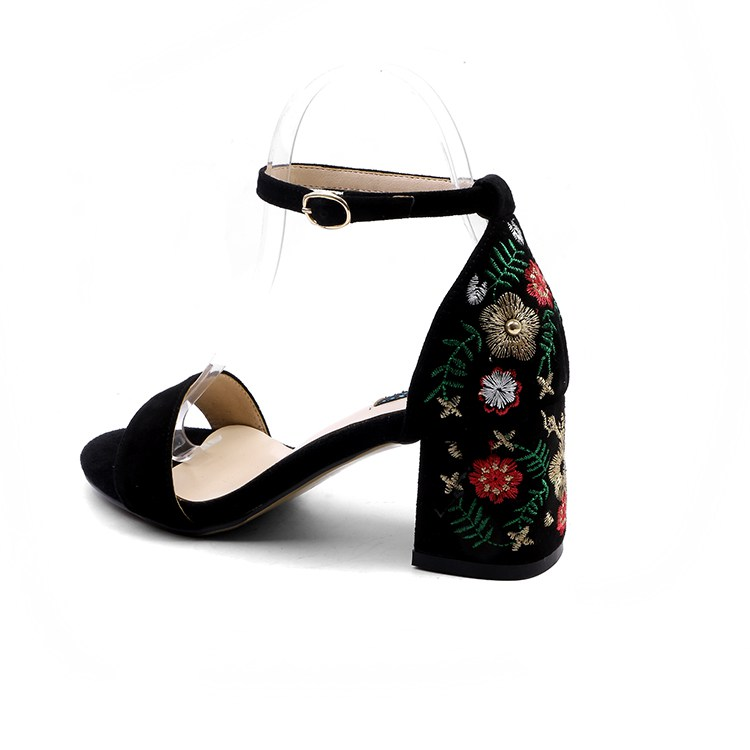 a815812713903 US $48.45 49% OFF|Lenkisen kid suede vintage retro buckle straps embroidery  women oriental sandals peep toe high heels ethnic leisure shoes L34-in ...