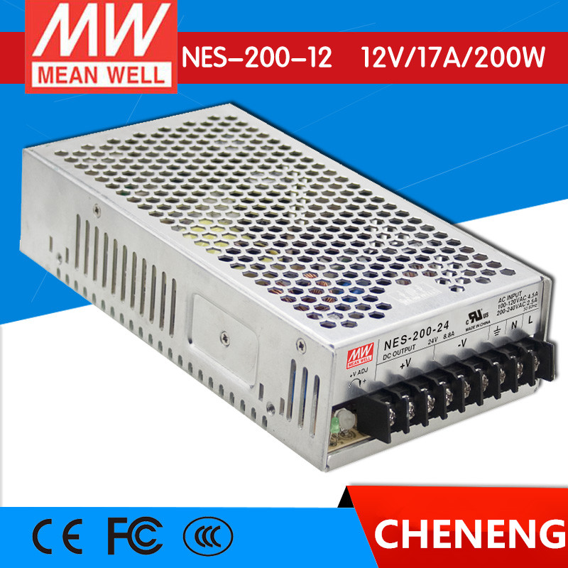 MEAN WELL original NES-200-12 12V 17A meanwell NES-200 12V 204W Single Output Switching Power Supply meanwell 12v 150w ul certificated nes series switching power supply 85 264v ac to 12v dc