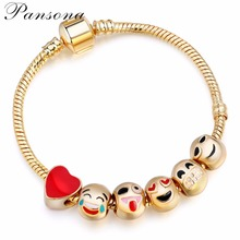 2017 Hot Sells Emoji Charm BraceletsLight Yellow Gold  Color 6 Pcs Beads DIY Jewelry  for Women  New Year Christmas Gifts AA120