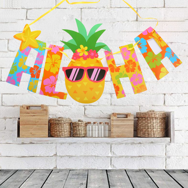 Hawaii Party Pennant Glitter Gold Letter Pineapple Hanging Banners Decor