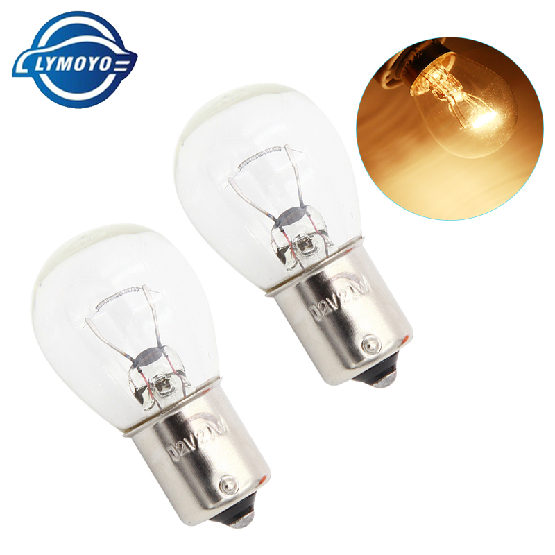LYMOYO 1156 P21W BA15S 10pcs car warm white halogen lamp 12v 21W reverse lights brake bulbs Stop Light Rear Turn Signal DRL 12v