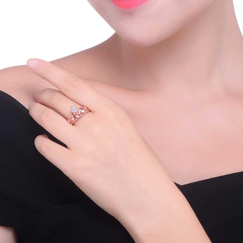 LXOEN модное милое кольцо с короной для вечерние ювелирные изделия аксессуары с розовым золотой цвет Цирконий Кристалл обручальные кольца anillos