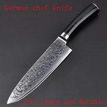 LD 8″ inches Damascus kitchen knives Damascus knife high quality VG10 Japanese steel chef knife Micarta handle free shipping