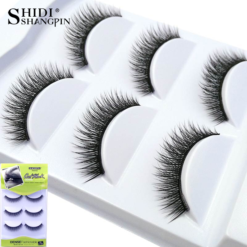 New 3 Pairs Handmade Black Long Soft Reusable 3D False Eyelashes Fake Eye Lash for Beauty Makeup 106-110