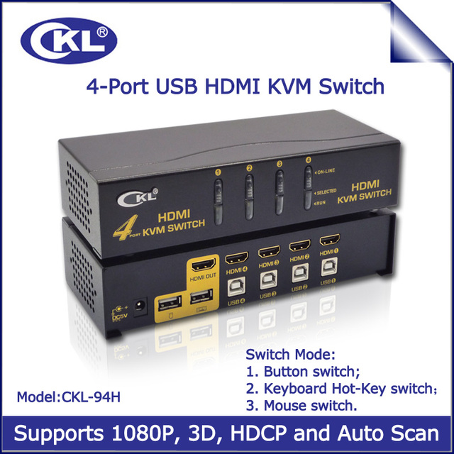 2017 CKL-94H 4 Port USB Auto KVM Switch HDMI 4 in 1 out 4x1 Switcher for Keyboard Video Mouse 1080P