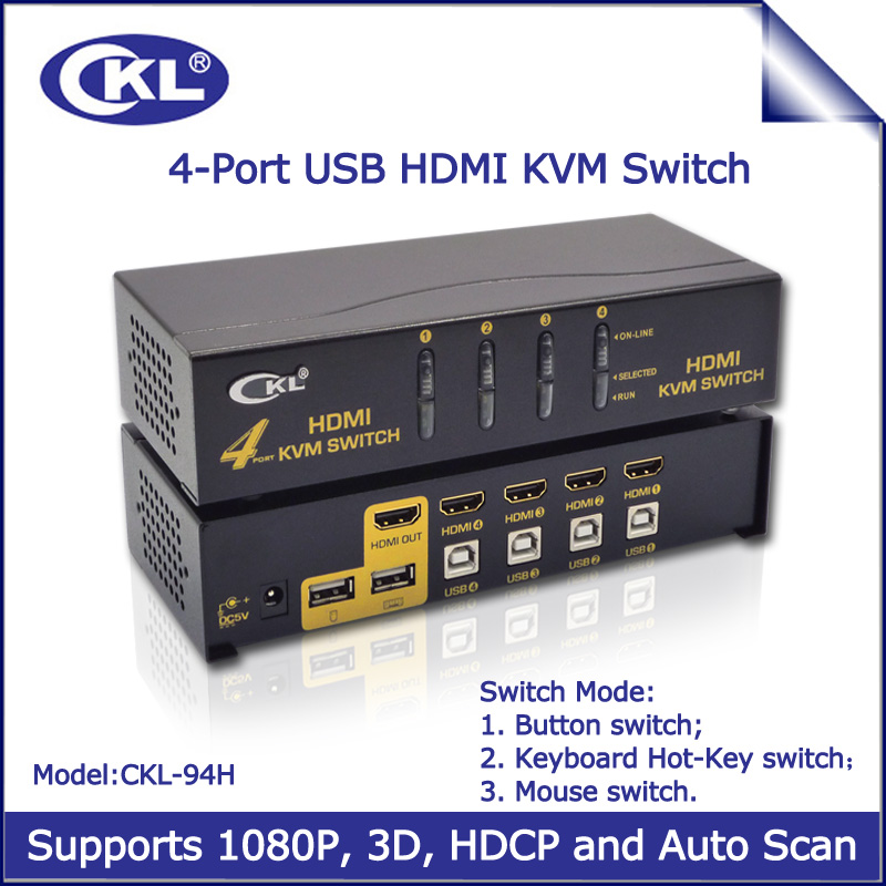 Prix pour CKL USB HDMI KVM Commutateur 4 Port PC Moniteur Clavier souris Switcher Soutien Raccourci Clavier Souris Auto Scan de Commutation 1080 P 3D CKL-94H