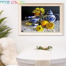 Diy Diamond Painting Lemon And  Cup Full Embroidery Chinese Style Kitchen Table Decorative For The Dining-room