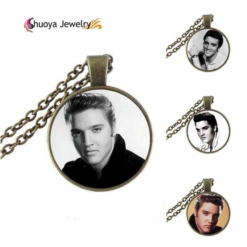 Elvis Presley Necklace B M 2016 New Fashion Round Glass Necklace Elvis Presley Pendant Glass Cabochon