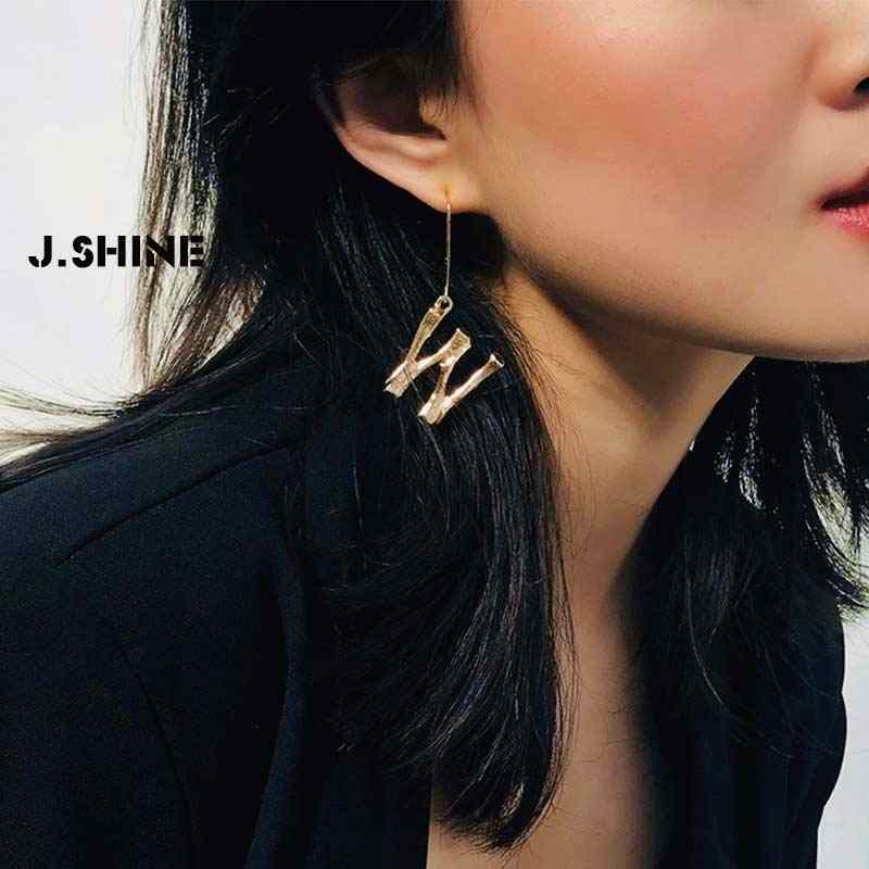 JShine Luxury Exaggerated Metal Letter Drop Earring Fashion Jewelry Temperament Lava Alphabet Statement Earrings for Women