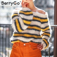 BerryGo Contrast color striped sweater women pullovers slash neck knitted sweater Autumn winter 2018 women jumper pull femme