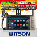WITSON Android 5.1 CAR DVD GPS bluetooth радио для TOYOTA PRADO 150 HD 1024X600 Экран Android Quad-core dvd-плеер автомобиля