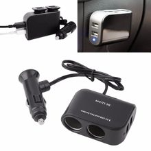 2 USB Port & 2 Sockets Car Cigarette Lighter Splitter Power Adapter 12V/24V Car Charger(China)