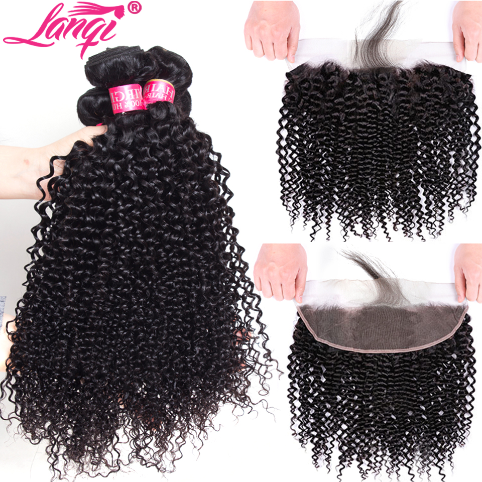 Kinky Curly Bundles With Frontal Closure Human Hair Weave Bundles With Lace Frontal Brazilian Hair Bundles With Frontal Closure
