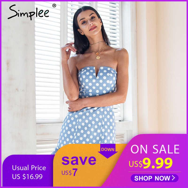 Женское летнее мини-платье Simplee в горох, сексуальное облегающее вечернее короткое платье без бретелей, с открытой спиной и оборками