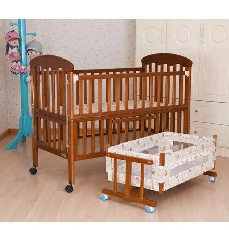 Solid Wood Baby Bed Baby Crib Game Bed Belt Lengthen