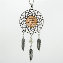 2017 Trendy Style Quote Necklace I Solemnly Swear That I am up to No Good Jewelry Silver Dreamcatcher Necklace DC-00523