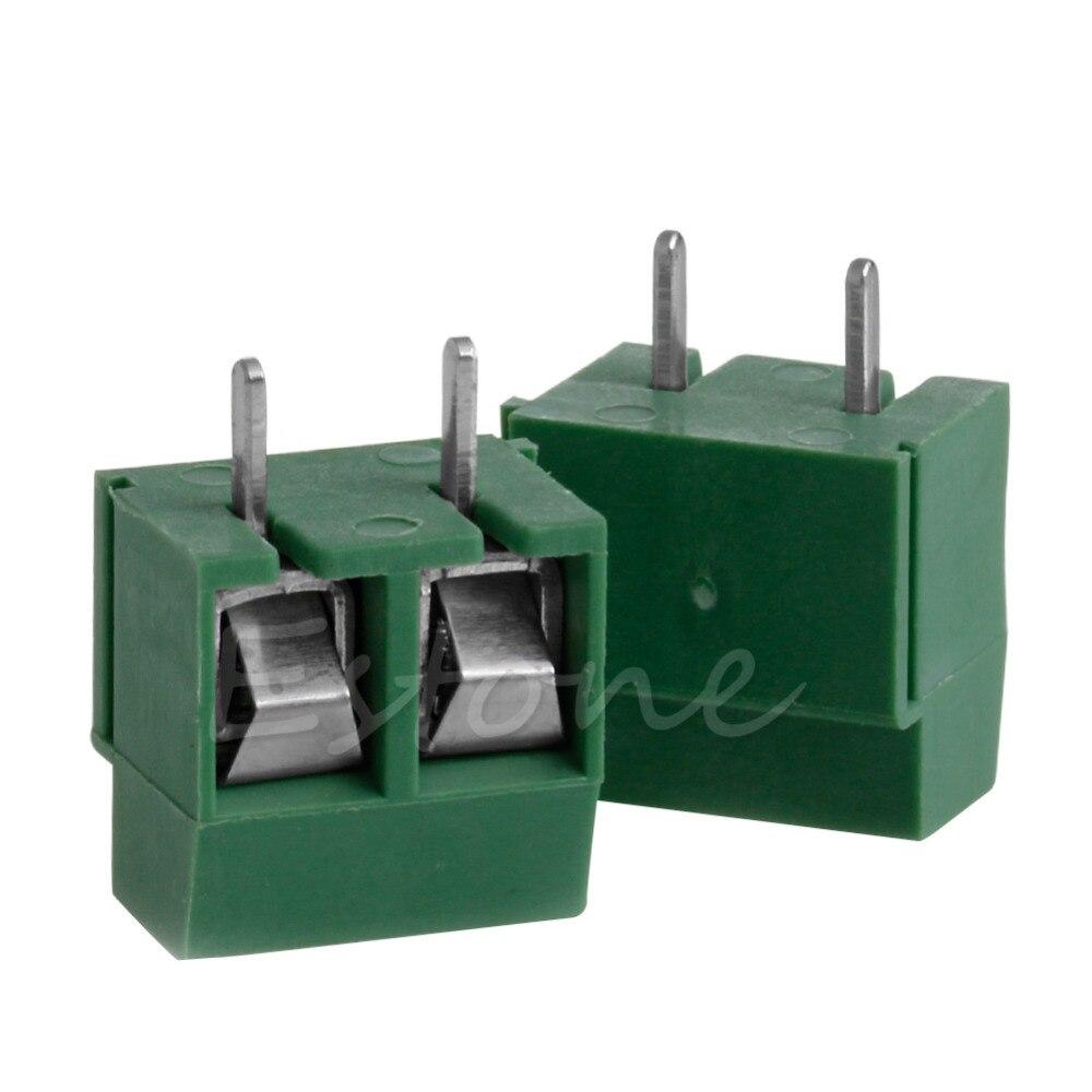 2pcs 300V 10A 2P Male PCB Screw Terminal Block Connector Green 5mm Pitch G08 Drop ship