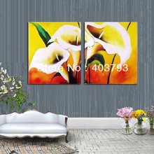 Modern abstract  Oil Painting On Canvas huge wall art 2P lily flower Free shipping