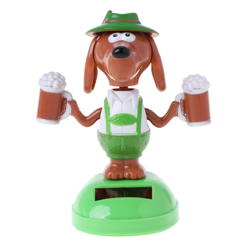 HBB 1PC Kids Novelty Toys Solar Powered Dancing Bobble Head Beer Cartoon Dog Car Ornament Gifts Adults Kids Baby Toys