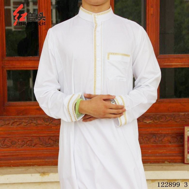 Cotton Embroidery White Color Stand collar muslim men clothing arab thobe, Long sleeve Worship garments