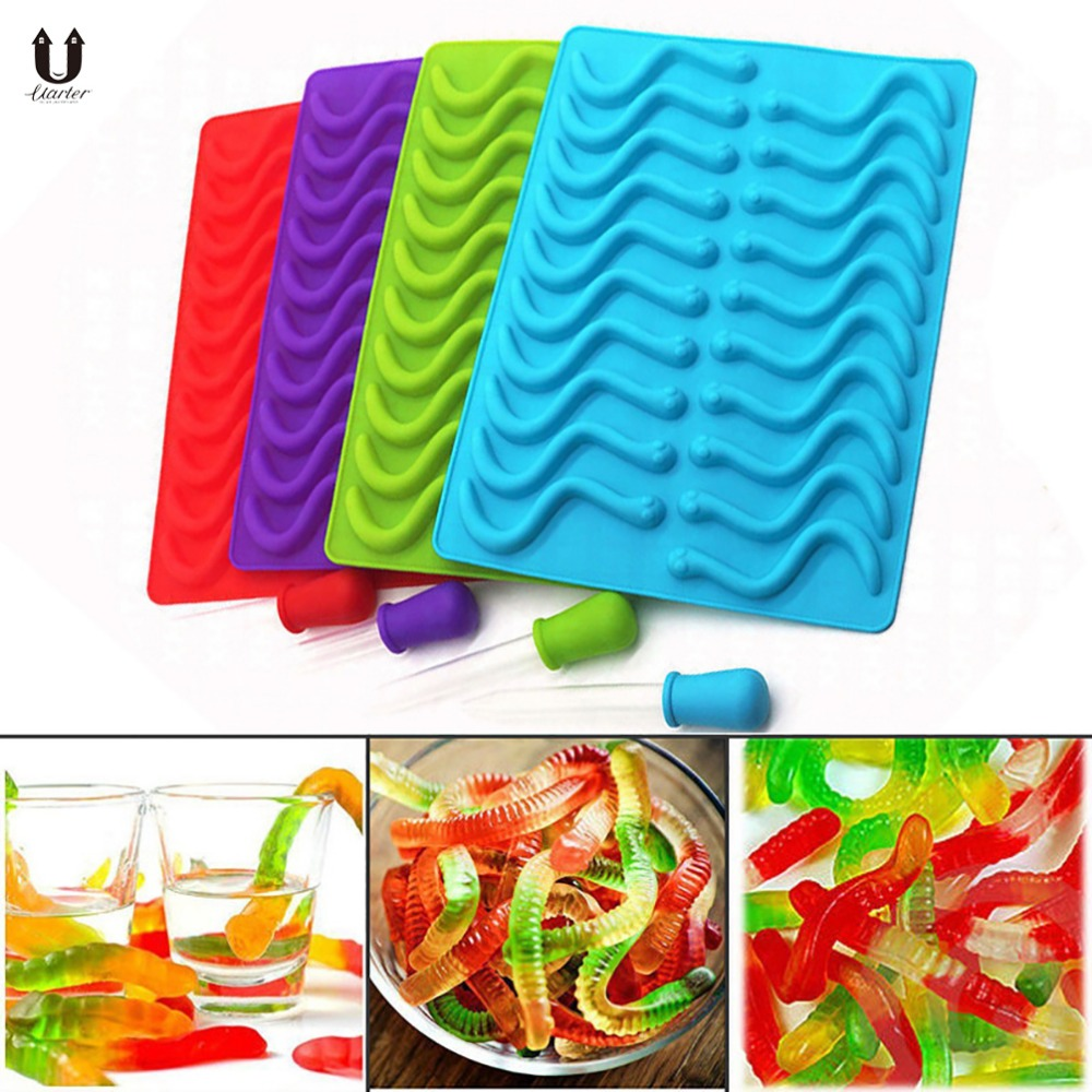Uarter Silicone Worms Shaped Gummy Mold Creative Worm Candy Tray Molds Diy Gummy Hard Candy Chocolate Mould Cake Decorating