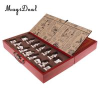 MagiDeal Antique Chinese Chess Board Puzzle Games Collectibles Vintage Terracotta Army Pieces Wood Table for Friends Family Toy