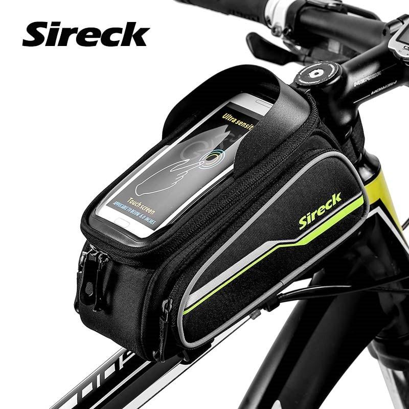 Sacchetto della bicicletta della strada di Sireck Mountain Bike 6 pollici della cassa del telefono della struttura anteriore Borsa touchscreen Borsa della bici della sella della cima Borsa della bici Accessori della bici