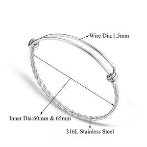 Image 2 - Браслет манжета из нержавеющей стали, 50 шт./лот, ширина 60 мм, 65 мм, 1,5 мм