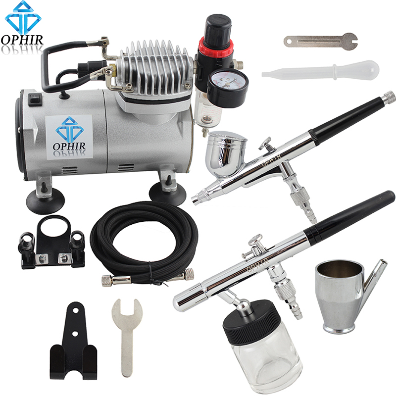 OPHIR Airbrush Kit with Air Compressor 0.3mm Dual Action & 0.8mm Single Action Airbrush Gun for Model Paint Cake _AC089+004+072 ophir 3 tips dual action airbrush gravity paint air brush with 110v 220v air tank compressor for nail art body paint ac090 070