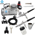 OPHIR Airbrush Kit with Air Compressor 0.3mm Dual Action & 0.8mm Single Action Airbrush Gun for Model Paint Cake _AC089+004+072