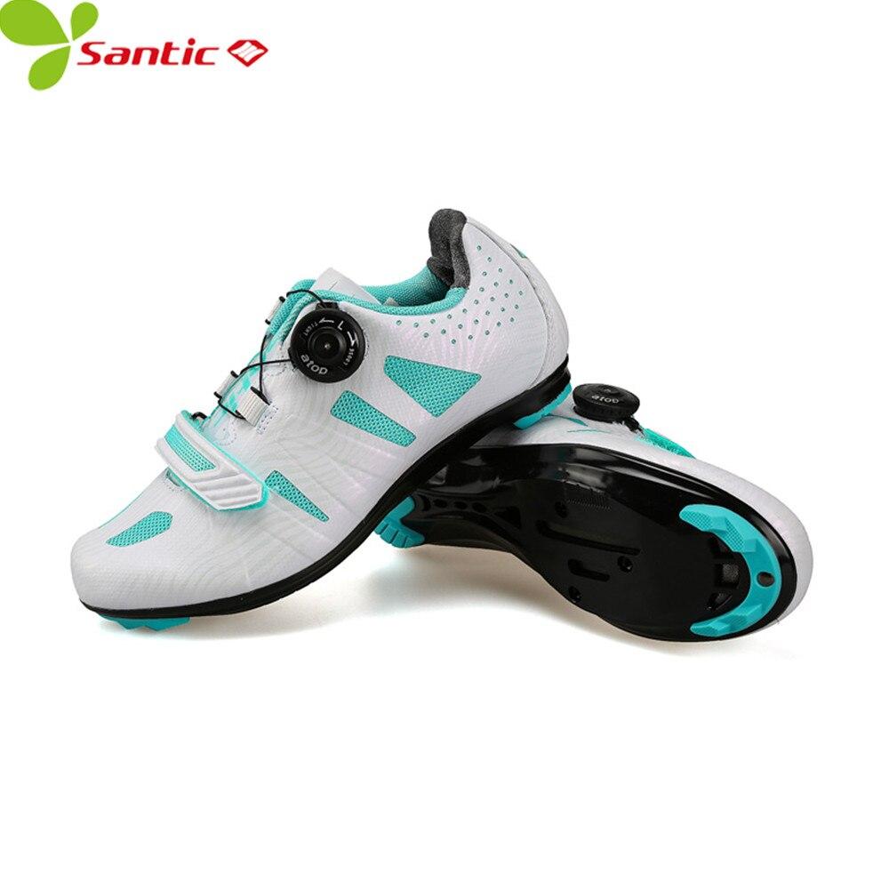 купить SANTIC women carbon fiber cycling shoes auto-lock sneakers off road bike bicycle shoes wearable TPU ultralight sports mtb shoes дешево