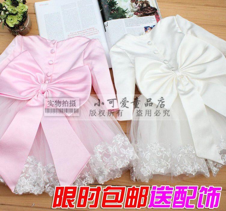 2015 autumn Three Quarter sleeve child formal princess flower girl puff